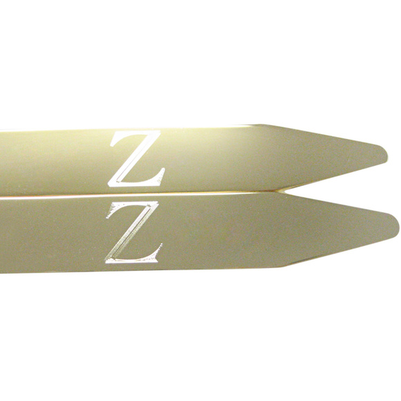 Gold Toned Etched Letter Z Monogram Collar Stays